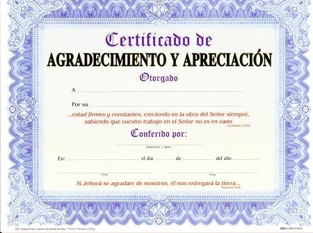 Ejemplos de certificados de agradecimiento - Imagui